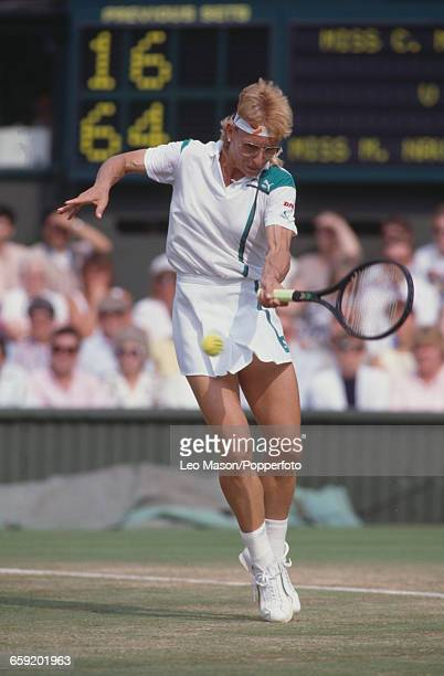 Czech born American tennis player Martina Navratilova pictured in action against Chris Evert in the semifinals during progress to reach the final of...