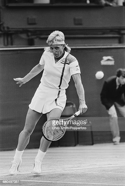 Czech born American tennis player Martina Navratilova pictured in action against Steffi Graf in the final of the Women's Singles tournament at the...