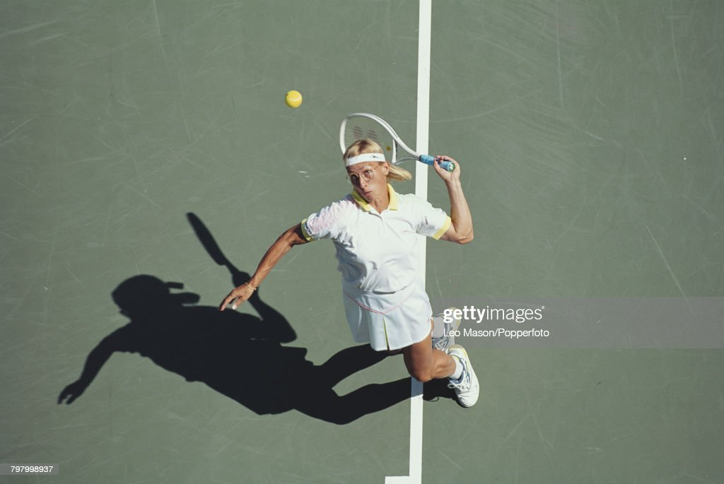 Czech born American tennis player Martina Navratilova pictured in action competing to reach the final of the 1991 US Open Women's Singles tennis tournament at the USTA National Tennis Center at Flushing Meadows in New York in August 1991. Navratilova would go on to lose to Monica Seles of Yugoslavia 6-7, 1-6 in the final on 7th September 1991.