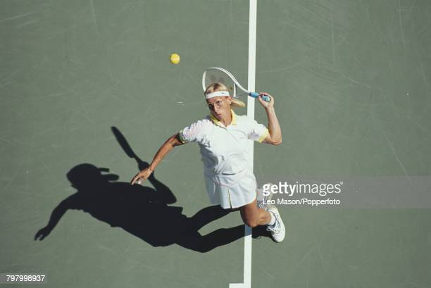 Czech born American tennis player Martina Navratilova pictured in action competing to reach the final of the 1991 US Open Women's Singles tennis...