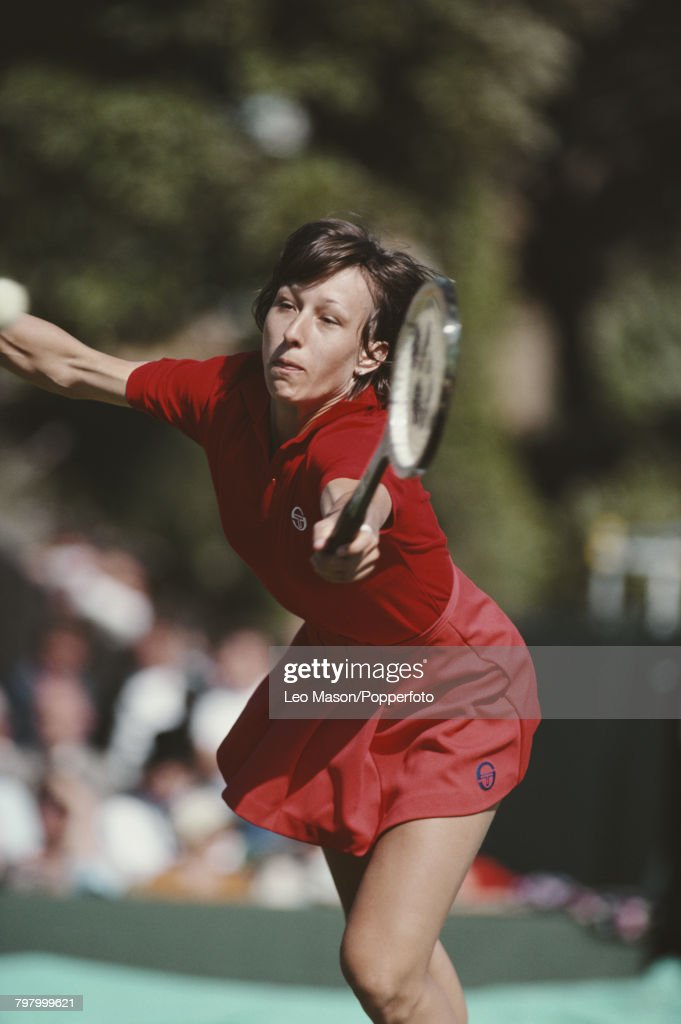 Czech born American tennis player Martina Navratilova pictured in action during competition in the 1980 BMW Challenge tennis tournament at Devonshire Park in Eastbourne, England in June 1980.