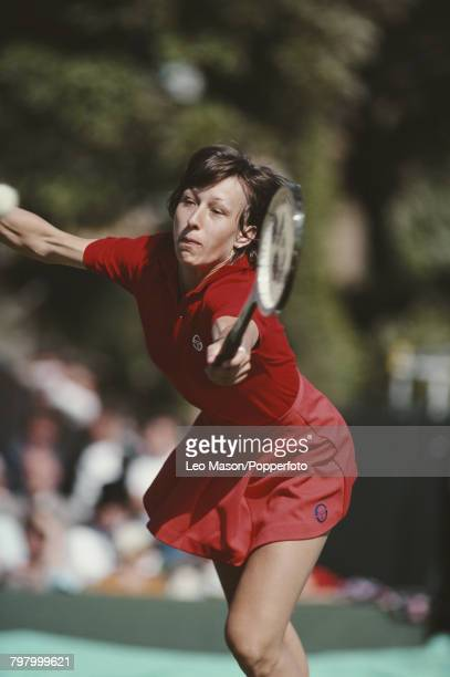 Czech born American tennis player Martina Navratilova pictured in action during competition in the 1980 BMW Challenge tennis tournament at Devonshire...