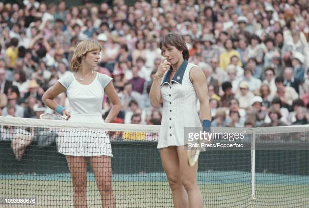 Czech born American tennis player Martina Navratilova pictured on right talking with defeated American tennis player and runner up Chris Evert after...