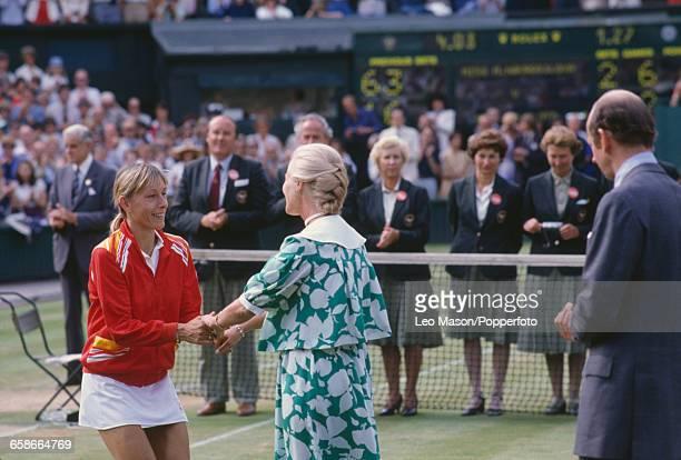 Czech born American tennis player Martina Navratilova shakes hands with Katharine Duchess of Kent after winning the final of the Women's Singles...