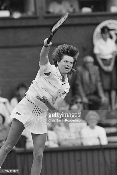 Czech born Australian tennis player Hana Mandlikova pictured in action against Martina Navratilova in the final of the Women's Singles tournament at...