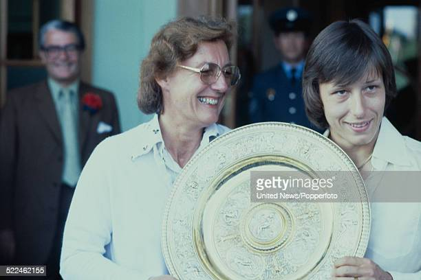 Czech born tennis player Martina Navratilova pictured with her mother Jana holding the Venus Rosewater Dish the Ladies' Singles trophy at the...