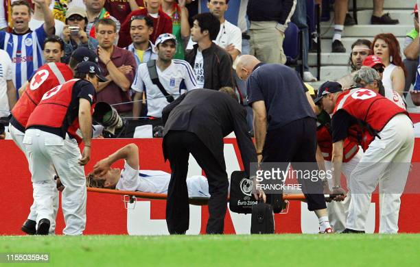 Czech captain Pavel Nedved is taken off the pitch on a stretcher after picking up an injury, 01 July 2004 during the European Nations championship...