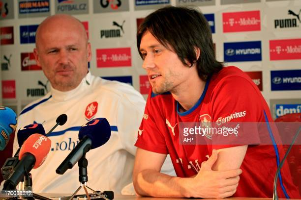 Czech captain Tomas Rosicky and coach Michal Bilek attend a press conference on June 6 2013 in Prague ahead of the qualification World Cup 2014...