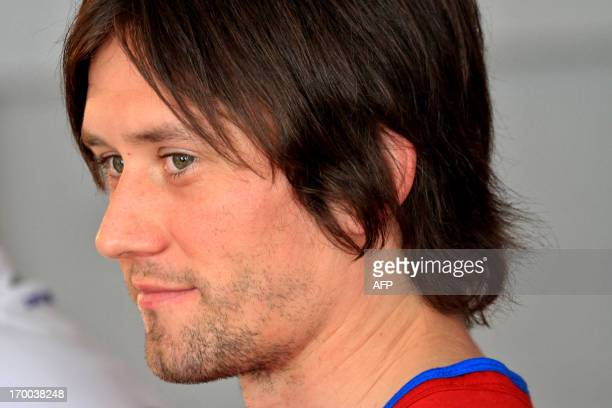 Czech captain Tomas Rosicky reacts during a press conference on June 6 2013 in Prague ahead of the qualification World Cup 2014 football match...