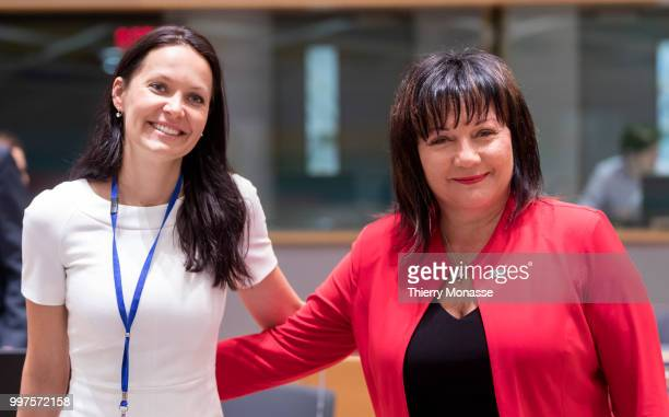 BRUSSELS BELGIUM JULY 13 Czech deputy Finance Minister Lenka Dupakova and the Czech Republic's Finance Minister Alena Schillerova are posing during...