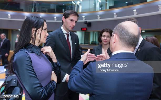 Czech Deputy finance Minister Lenka Dupakova is talking with the Dutch Minister of Finance Wopke Hoekstra the Latvian Finance Minister Dana...
