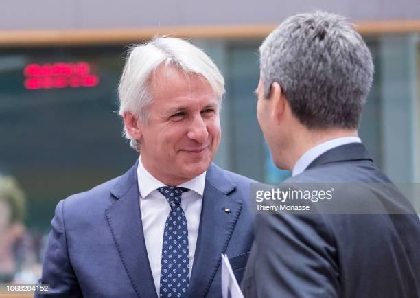 Czech Deputy finance Minister Lenka Dupakova talks with the Romanian Minister of Public Finance Eugen Orlando Teodorovici and the Austrian Finance...