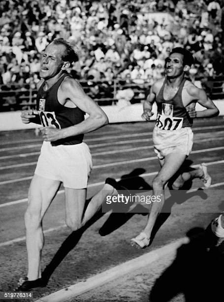 Czech Emil Zatopek leads on July 26 1952 in front of French Alain Mimoun on the Helsinki stadium of the Olympic 5000m During his career Emil Zatopek...