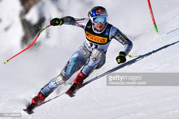 Czech Ester Ledecka competes in the Women's Super G event on February 11, 2021 during the FIS Alpine World Ski Championships in Cortina d'Ampezzo,...