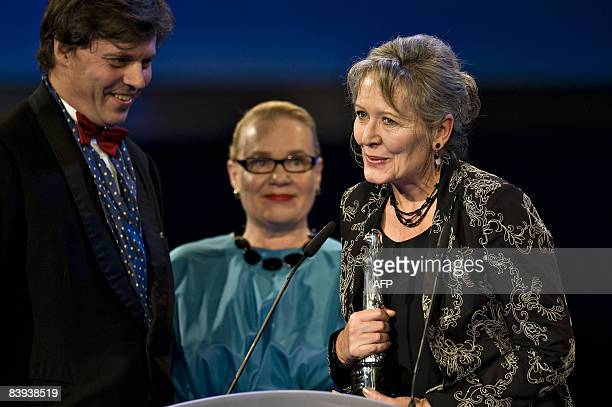 "Czech film directorHelena Trestikova reacts after receiving the European Film Academy Documentary 2008 - Prix Arte award for her film ""Rene"" on..."