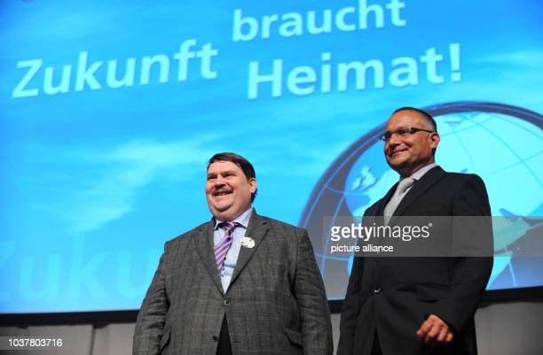 Czech film maker David Vondracek receives a human rights prize from spokesperson of the Sudeten German community Bernd Posselt at the 64th Day of...