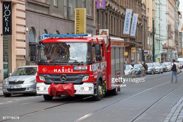 czech fire truck - gwengoat stock pictures, royalty-free photos & images