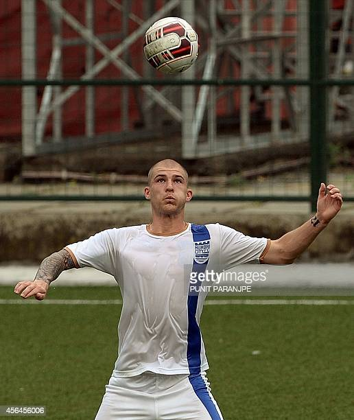 Czech football player Pavel Cmovs practises during a training session of Mumbai City Football Club team at Cooperage Ground in Mumbai on October 1...