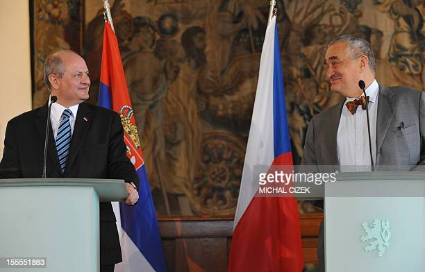 Czech foreign minister Karel Schwarzenberg looks at his Serbian counterpart Ivan Mrkic during their press conference on November 5 in Prague AFP...