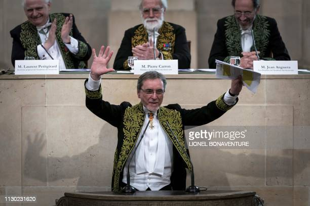 Czech former dancer and choreographer Jiri Kylian reacts and delivers a speech after being elected as foreign associate member of the Academy of Fine...