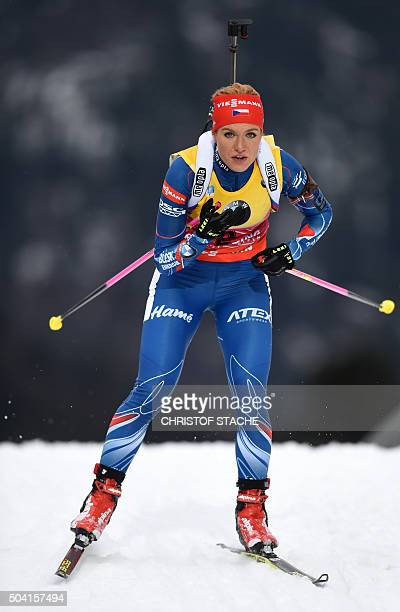 Czech Gabriela Soukalova competes during the ladies 10 kilometer pursuit competition at the Biathlon World Cup on January 09, 2016 in Ruhpolding,...