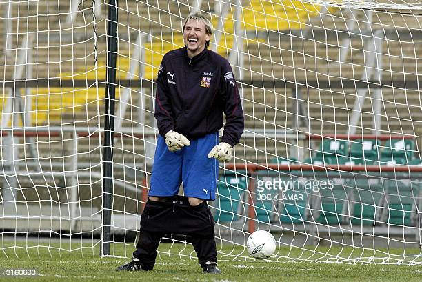 Czech goal keeper Martin Vaniak pulled down his pants to entertain his teammates during a training session in Dublin 30 March 2004 on the eve of...