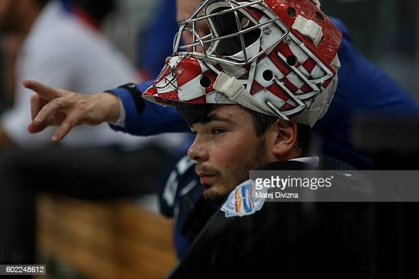 Czech goalkeeper Michal Neurvith is seen during a practice for the 2016 World Cup Of Hockey preparation match between Czech Republic and Russia at O2...