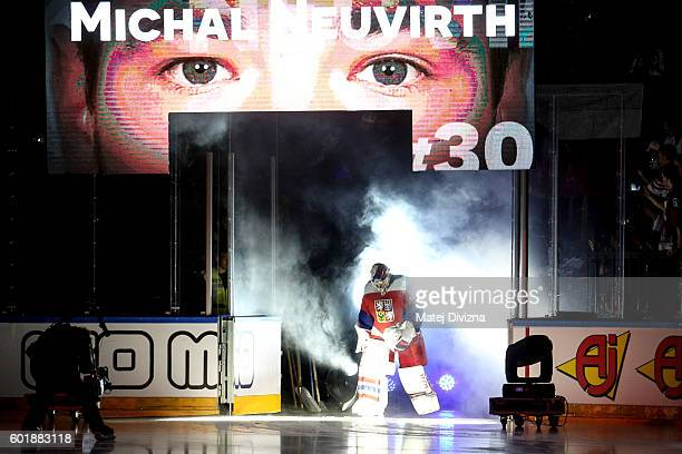 Czech goalkeeper Michal Neuvirth arrives for the 2016 World Cup of Hockey preparation match between Czech Republic and Russia at O2 Arena Prague on...