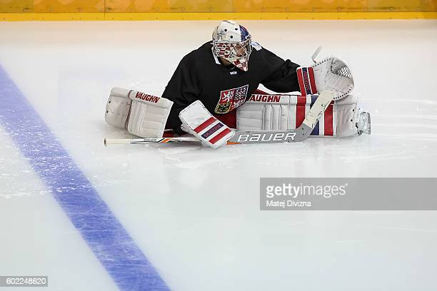 Czech goalkeeper Michal Neuvirth warms up before a practice for the 2016 World Cup Of Hockey preparation match between Czech Republic and Russia at...