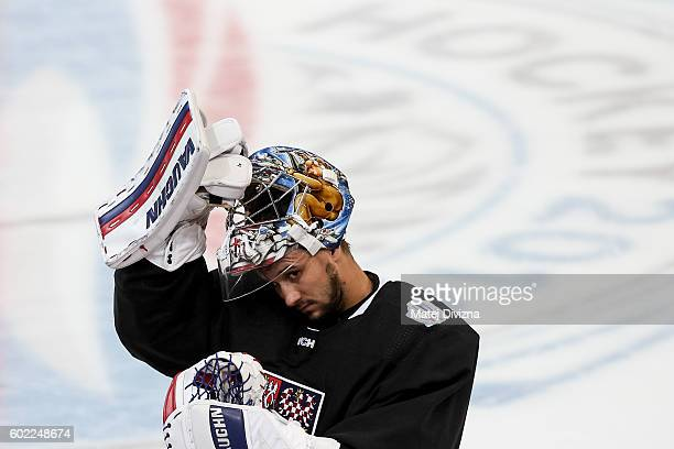 Czech goalkeeper Petr Mrazek attends a practice for the 2016 World Cup Of Hockey preparation match between Czech Republic and Russia at O2 Arena on...