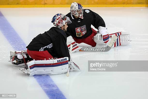 Czech goalkeepers Petr Mrazek and Michal Neuvirth warm up before a practice for the 2016 World Cup Of Hockey preparation match between Czech Republic...