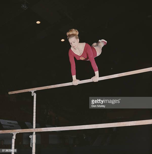 Czech gymnast and seven time Olympic Gold medallist Vera Caslavska competes on the uneven bars 1st June1968 in London Great Britain