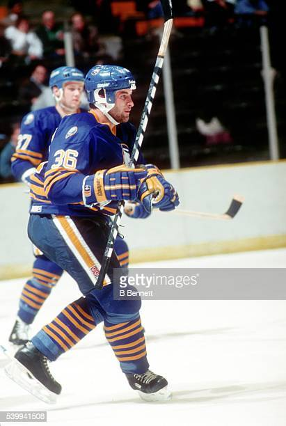 Czech hockey player Jan Ludvig of the Buffalo Sabres on the ice in January 1988