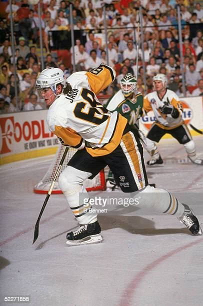 Czech hockey player Jaromir Jagr of the Pittsburgh Penguins hustles after the puck during the Stanley Cup finals against the Minnesota North Stars at...