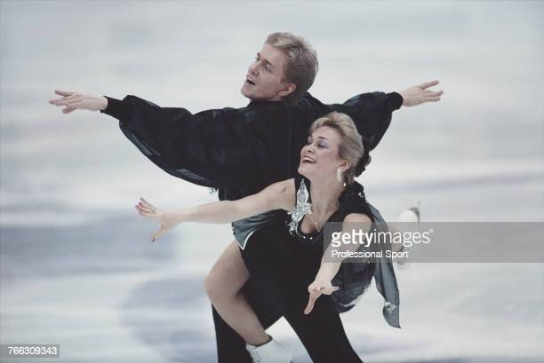 Czech ice dancers Katerina Mrazova and Martin Simecek of the Czech Republic team pictured together during competition to finish in 8th place in the...
