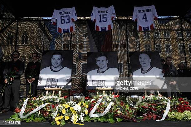 Czech Ice hockey players and members of the Czech ice hockey association pay tribute to Josef Vasicek Jan Marek and Karel Rachunek 3 members of Czech...