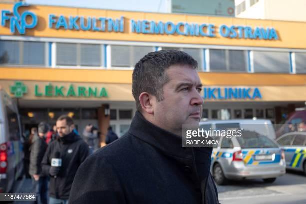 Czech Interior Minister Jan Hamacek arrives at the Faculty Hospital in Ostrava, eastern Czech Republic, after a gunman opened fire killing six...