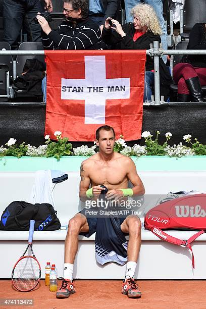 Czech Lukas Rosol defeated by Stan Wawrinka of Switzerland playing at the Geneva Open at Parc des EauxVives on May 20 2015 in Geneva Switzerland