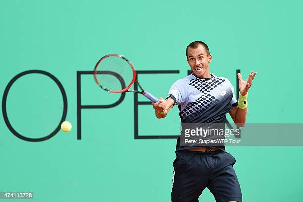 Czech Lukas Rosol in action as he is defeated by Stan Wawrinka of Switzerland at the Geneva Open at Parc des EauxVives on May 20 2015 in Geneva...