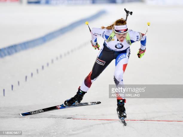 Czech Marketa Davidova competes in the women 7.5 km sprint event in the biathlon World Cup in Östersund, Sweden, on December 1, 2019. / Sweden OUT