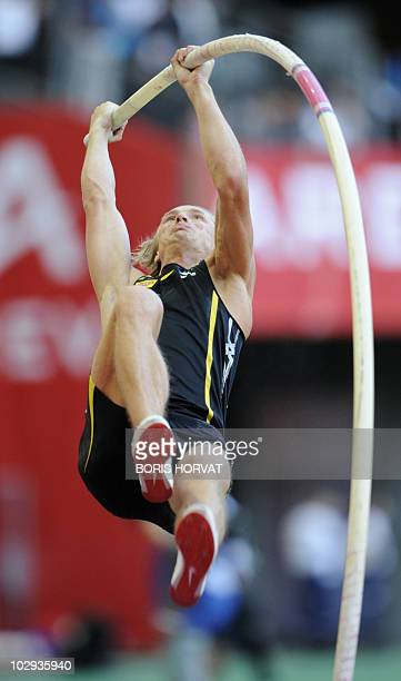 Czech Michal Balner competes in the men's pole vault event of the Paris IAAF Diamond League meeting on July 16, 2010 at the Stade de France in...