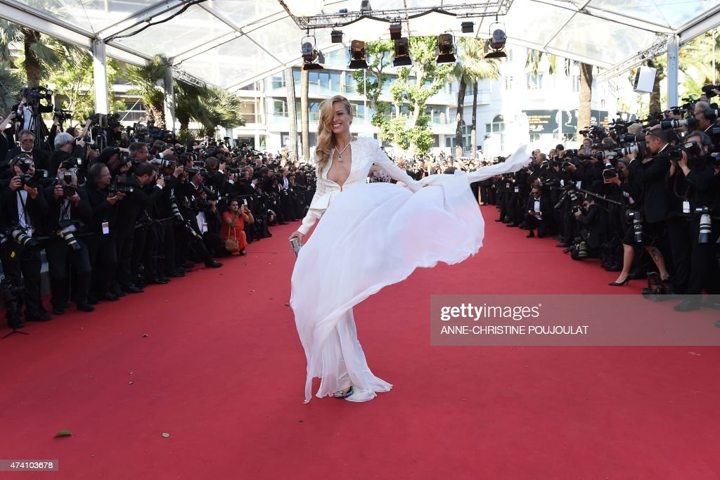 Czech model Petra Nemcova poses as she arrives for the screening of the film 'Youth' at the 68th Cannes Film Festival in Cannes, southeastern France, on May 20, 2015.