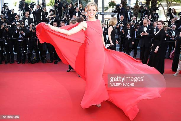 """Czech model Petra Nemcova poses as she arrives on May 15, 2016 for the screening of the film """"Mal de Pierres """" at the 69th Cannes Film Festival in..."""