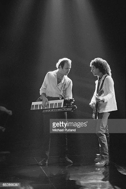Czech musician and composer Jan Hammer performing with American guitarist Neal Schon 1981