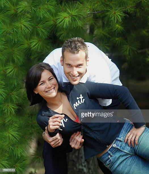 Czech national team goalkeeper Petr Cech and his wife Martina pose for a picture 01 September 2003 in Prague Chelsea have agreed to sign Cech from...