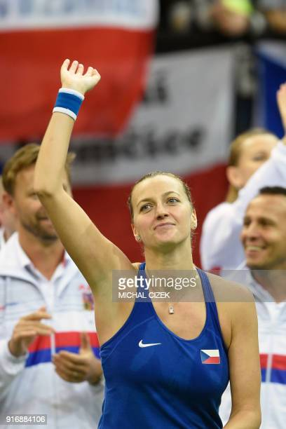 Czech Petra Kvitova celebrates after defeating Swiss Belinda Bencic during the first round of the International Tennis Federation Fed Cup match...