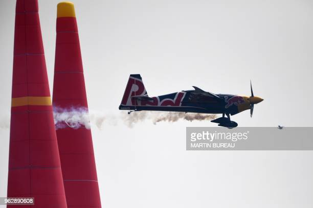 Czech pilot Martin Sonka competes during the Red Bull Air Race World Championship in Chiba on May 27 2018