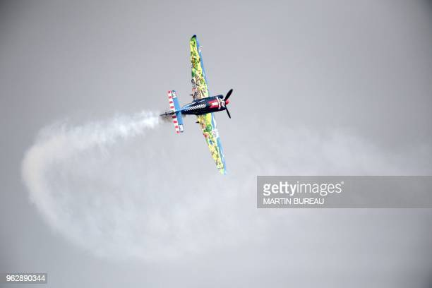 Czech pilot Petr Kopfstein competes during the Red Bull Air Race World Championship in Chiba on May 27 2018