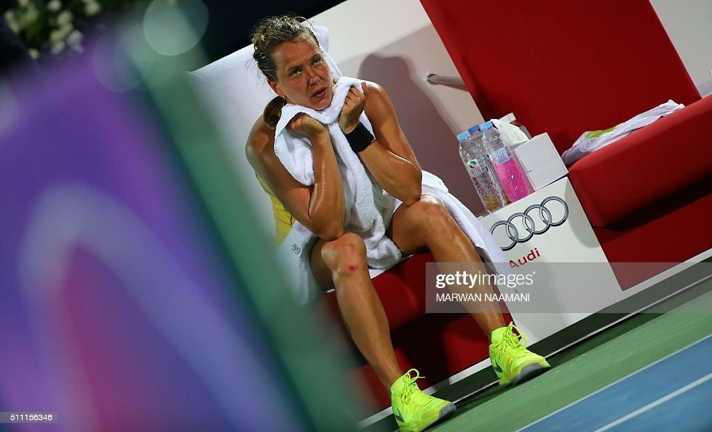 Czech player Barbora Strycova looks on during her quarter-final WTA game against Serbia's Ana Ivanovic in the Dubai Duty Free Tennis Championships, on February 18, 2016. / AFP / MARWAN