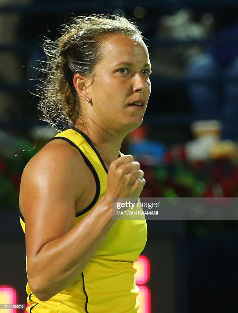 Czech player Barbora Strycova reacts after winning the first set against Serbia's Ana Ivanovic during their quarter-final WTA game as part of the Dubai Duty Free Tennis Championships, on February 18, 2016. / AFP / MARWAN